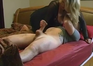 Busty mom jerks off her stepson with love