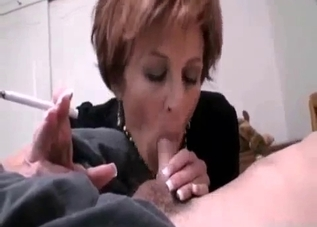 Amazing mom gives her son a good blowjob