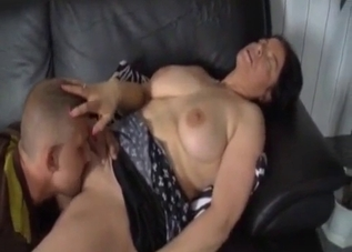 Busty brunette enjoys nasty incest with son