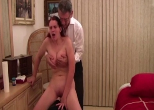 Daddy is playing with his daughter's big tits