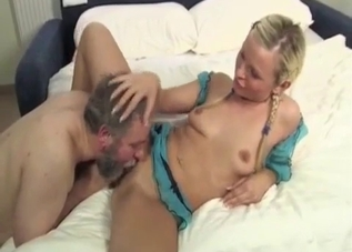 Cute pigtailed daughter and naked daddy
