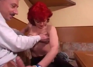 Redhead mature jerks her old brother