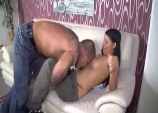 Good brunette daughter gives a nice blowjob
