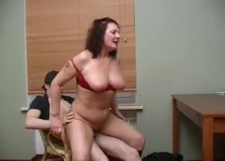 Busty babe impaled in doggy style