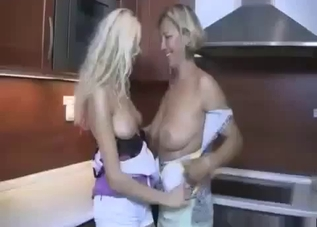 Busty daughter licks her mom's snatch