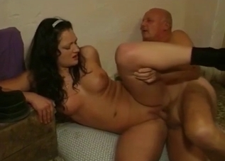 Older daddy licks his daughter's crack
