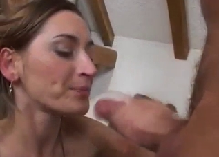 Sister swallows her daddy's fresh semen