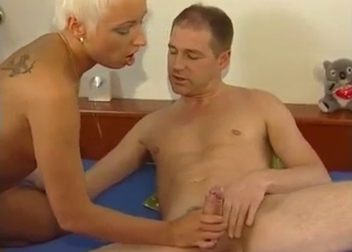 Slender blonde jumps on her uncle