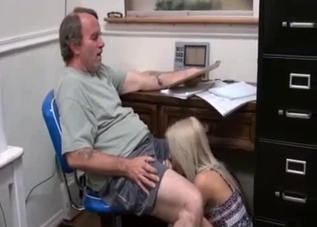 Stunning blonde daughter gives a blowjob