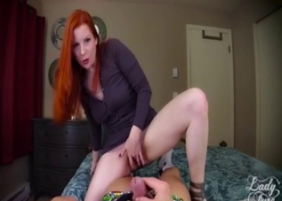 Redhead mother rides his massive wiener