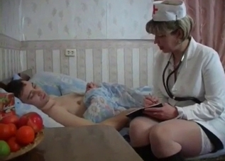 Busty nurse mom and her lustful son