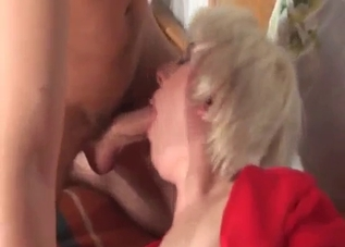 Awesome blonde hottie is sucking a big dick
