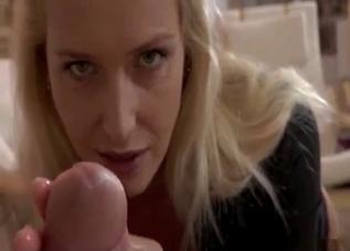 Blonde daughter jerks and licks my dick