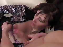 Stunning brunette gets a good dick in mouth