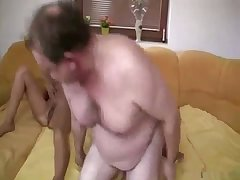 Fat old man fucked his slender young daughter