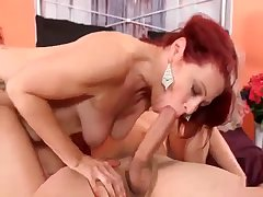 Redhead mom jumps on her own son
