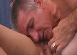 Daddy eats a wide-opened puss in close-up