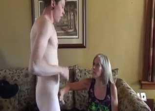 Sexy blonde fucked by younger brother