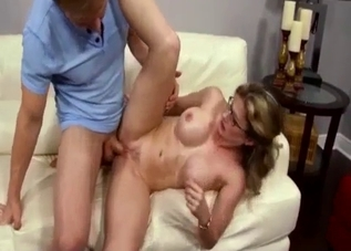 Fake-tit mom fucked hard by son