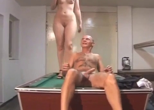 Daddy eats his daughter's shaved pussy
