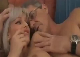 Slender blonde penetrated by old daddy