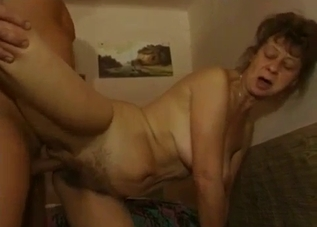 Busty old mom fucked by younger son