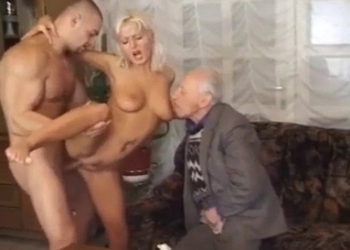 Busty blonde sis fucked in front grandpa