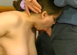 Busty daughter gives a good blowjob