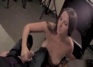 Big-tit hottie blows her nasty brother