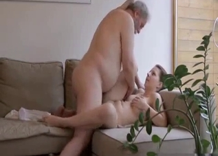 Sexy daughter used by dad and his dad