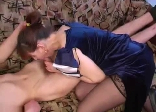 Passionate mom gets drilled by her son