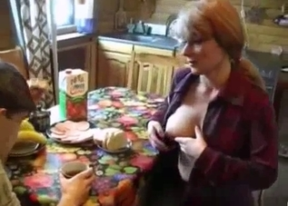 Busty auntie and her younger brother