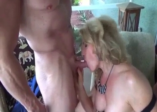 Playful auntie sucks so fucking deep