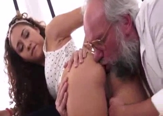 Stunning curly stepdaughter rides her dad